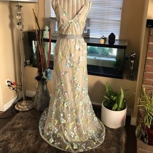 Gorgeous ADRIANNA PAPELL EMBROIDERED MESH DRESS